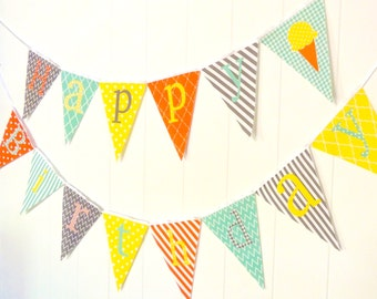 Happy Birthday Bunting, Happy Birthday Banner, Fabric Pennant Flags, Orange, Mint, Yellow, Grey, Photo Prop, Garland, Happy Birthday Sign