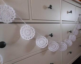 Crochet Garland Flower Wedding Garland Nursery Garland Home Decoration White