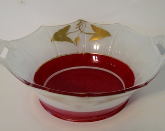 Art Deco Bowl Rare Moderne Classic Indiana No. 602 Red White