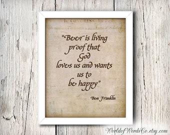 Bar Sign, Bar Poster, Bar Art, Home Decor, Bar Print, Benjamin Franklin Quote Beer is proof God Loves Us,  Man Cave, INSTANT DOWNLOAD