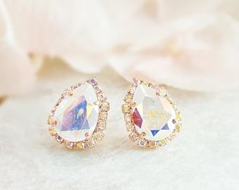 Iridescent Earrings - Aurora Borealis Earrings - Crystal Teardrop Earrings Swarovski Drop Statement Jewelry - Rhinestone Tear Drop E3823