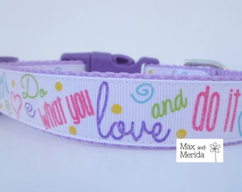 Dog Collar, Lavender stripes adjustable dog collar, pet gift, pet accessory, do what you love, and do it often