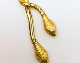 Vintage Snake Necklace. Egyptian Revival. Forstner? Double headed Serpent. Gold brass. Bolo Necklace LA eb