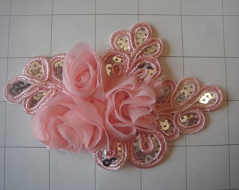 "Pink Flower and Sequins Braided Applique 4 1/2"" by 3 1/4"""