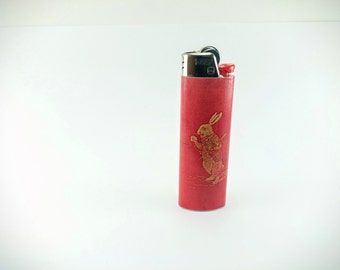 Alice in Wonderland's First Edition The White Rabbit book cover Custom Lighter
