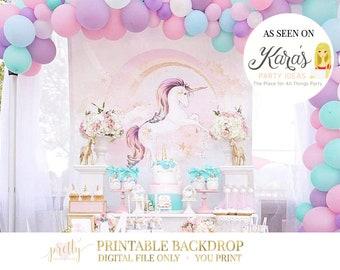 Pink Unicorn Backdrop, YOU PRINT, Unicorn Party, Unicorn Birthday, Unicorn Banner, Unicorn Decorations, Unicorn Party Decor, Printable