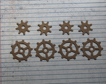 "8 small bare gears chipboard Gear die cuts 4 each 1"" and 1 1/2"""