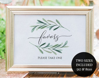 Greenery Favors Sign Printable - Wedding Favors Sign - Olive Leaf - 5x7 and 8x10 sign PDF - Instant Download - Wedding Printable - #GD3837