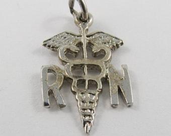 Registered Nurse Caduceus Vintage Sterling Silver Charm.