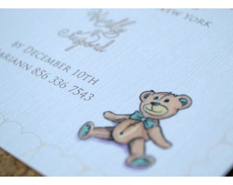 Teddy Bear Baby Shower Party Invitations - Girl or Boy Baby Shower Invite - Bear with Bow Baby Shower Invitations - Sweet Baby Shower Invite