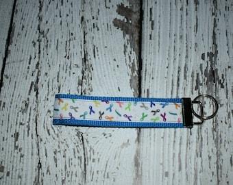 Cancer awareness - cancer awareness key fob - cancer survivor gift - cancer awareness - turquoise cancer ribbon