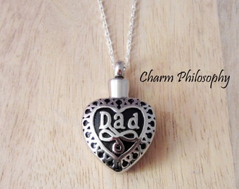 Dad Memorial Necklace - Hollow Heart Pendant - Keepsake Jewelry - Ashes Necklace - Father Cremation Urn Necklace