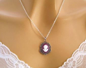 Purple Cameo Necklace: Victorian Woman Tiny Magenta Cameo Necklace, Sterling, Vintage Inspired Romantic Purple Necklace, Gift Idea for Her