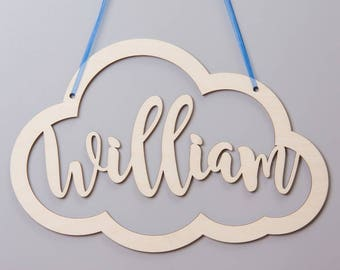 Personalised Birchwood Cut Out Cloud Hanging Sign