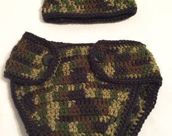 Camo Baby Boy Hat & Diaper Cover