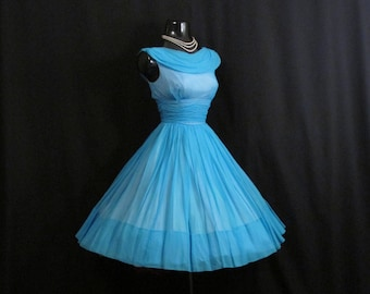 Vintage 50s 1950's Turquoise Blue Ruched Silk Rayon CHIFFON Organza Party Prom Dress