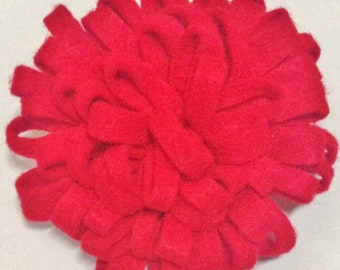 Felt Brooch Pin Flower Red Round