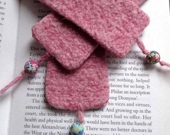 Felt bookmark in Powder Pink