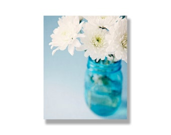 White and turquoise flower canvas wall art, white flowers, turquoise, blue, flower art, garden flower photography - They go hand in hand