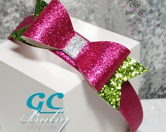 Sparkly Hot Pink & Green Faux Leather Bow - Hair Clip Headband Ponytail Elastic - You choose the fastener for Baby, Toddler or Little Girl
