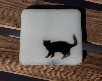 Fused Glass Cat Coaster