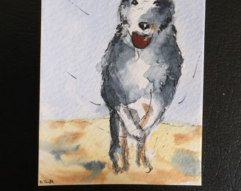 Dog ORIGINAL Miniature Watercolour,'Play Ball' canine dog  ACEO, For him, For her, Home Decor, Wall Art, Gift Idea, Free Shipping