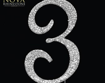 "Crystal Rhinestone Silver Number ""3"" Monogram Wedding Anniversary Cake Topper, Large"