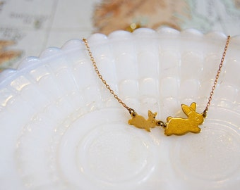 mama and baby bunny rabbit vintage brass necklace