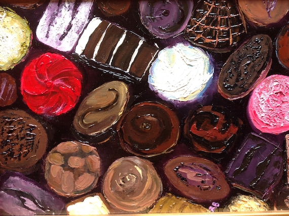 Chocolate Painting, Small Oil Painting, Kitchen Art, Food Painting