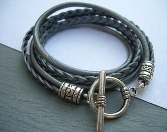 Womens Triple Wrap Leather Bracelet with Toggle Clasp - Metallic Silver, Womens Jewelry, Womens Bracelet, Womens Gift, Gift for Her,