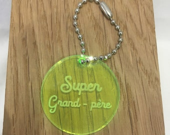 Fluo yellow door keys medailllon plexi super grandfather, customisable, customizable with name, phone number, any sentence