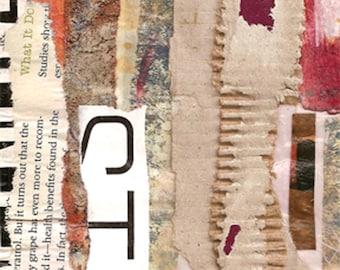 Deuxième rue - Collage Original avec patiné et à la main dessinés et peints papiers 4 x 4 sur 5 x 5» support