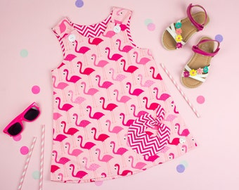 Handmade Girl's Pinafore Dress in Pink Flamingo Baby girls dress summer dress gift for a girl Flamingo Dress Baby Dress Girls Dress