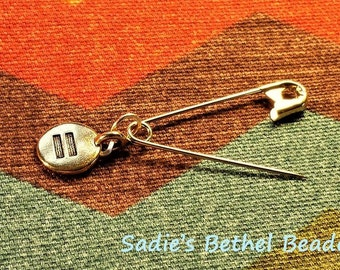 Safe Person Pin with sharp point in gold or silver finish with equality charm
