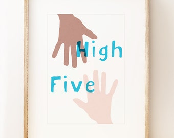 High Five - typeographic wall art print