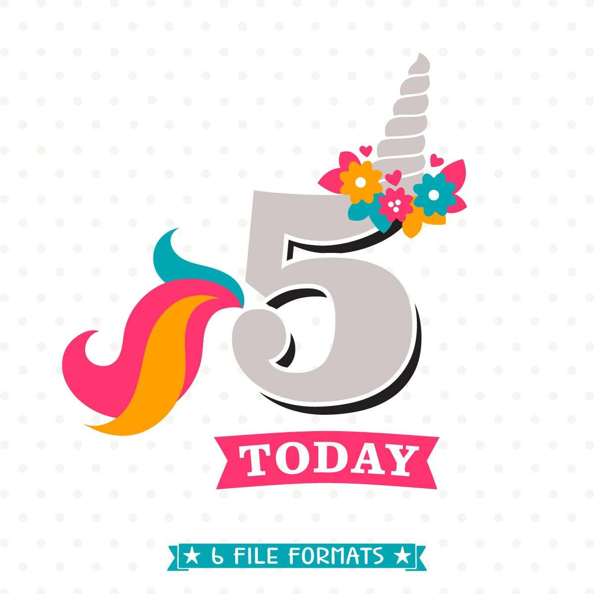5th Birthday Svg Unicorn Birthday Svg Unicorn Party Svg