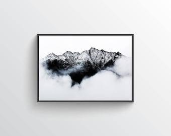 Winter Fog - Digital Print - Printable Art - Mountains - Modern - Minimal - Nature - Landscape - Minimalist - Norse - Photography - Foggy