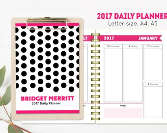 2017 Printable personalized planner, Letter size, A4, A5 planner inserts, daily agenda, planner pages, printable organizer, 2017 calendar