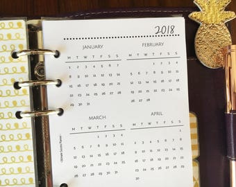 Printed PERSONAL Size, Yearly Calendar Dated 2018 #pe05
