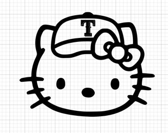 Texas Rangers Hello Kitty Face Decal