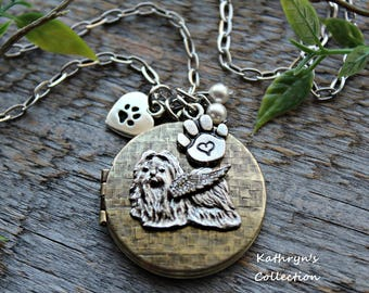 Shih Tzu Locket Necklace, Shih Tzu Jewelry, Shih Tzu Memorial Keepsake, Pet Memorial Jewelry, See all five photos - read listing details