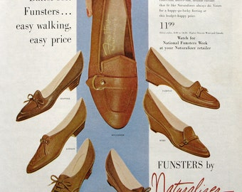 1960 Naturalizer Funsters Shoes Ad - 1960s Brown Shoe Company Advertising - Vintage Footwear Ads