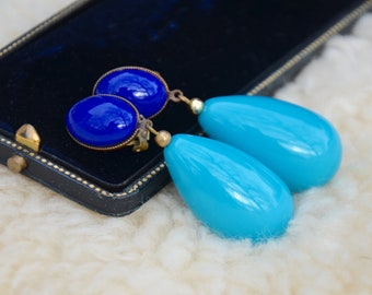 Turquoise and Cobalt Blue Teardrop Clip Earrings, LARGE Vintage Fabulous Statement Earrings, Robin Egg Blue Glass Bead and Cabochon Earrings