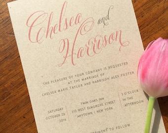 Rustic Blush Wedding Invitation - Rustic Calligraphy Wedding Invitation - Kraft Wedding Invite