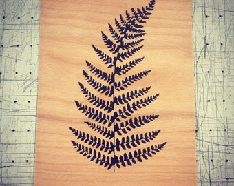 Fern - Screen print on wood veneer // fougère - Sérigraphie sur placage de bois