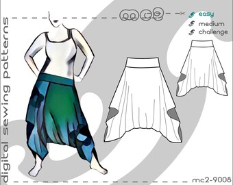 Easy-Drape Harem Pants (sizes S-M-L-XL-2XL-3XL-4XL-5XL) Digital PDF Sewing Pattern for Women >mc2patterns< mc2-9008