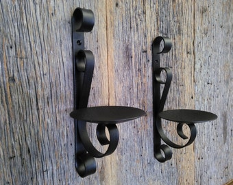 Two Metal Candle Holders Rustic Black Wrought Iron Wall Sconce For Pillar Candles Set Of