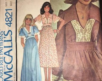 McCall's 4821 Raised Waistline Boho Dress 1975