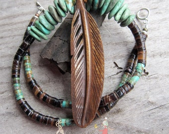 Carved Bone Feather || Feather Necklace | Pen Shell Heishi | Turquoise | Earthy | Organic | Boho Hippie Necklace | OOAK | Choker Necklace