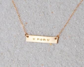 Nu Gold Love Mom Bar Necklace